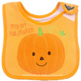 Factory OEM Produce Custom Logo Embroidered Soft Cotton Halloween Baby Bib