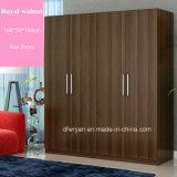 Light Walnut/Black Walnut/ Royal Walnut/Zebra Wood Color Melamine Particle Board Wardrobe