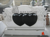 Granite Double Heart Monument/Tombstone with Carved Flower