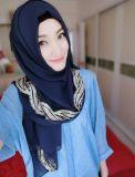 Elegant Style Sheer Chiffon Muslin Long Hijab Scarf with Rhinestone