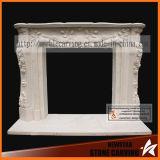 Simple Design Flower Stone Fireplace Surround Sculpture