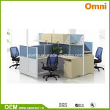 Office Workstation for Four Person; Wood Panel Workstation (OMNI-AO2-16B)