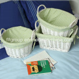 Customized Handcraft White Decorative Lined Wicker Basket in Different Shapes