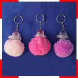 Promotional Plush Keychain with Transparent Plastic Toy