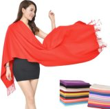Red Plain Long Cotton Fleece Winter Scarf