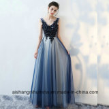 Sexy V-Neck Tulle Appliques Lace-up Prom Dress Floor-Length Evening Dress