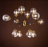 Metal Chandelier with Colored or Clear Glass (WHG-652)