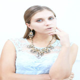 New Design Resin Crystal Earring Bracelet Necklace Fashion Jewelry Set