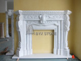 White Marble Fireplace with Carving for Indoor Decoraction
