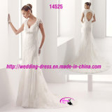 New Arrival Lace Cap Sleeve Wedding Dress with Hole Back