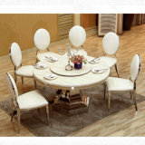 Luxury Round Stainless Steel Metal Base Marble Top Dining Table for Restaurant