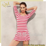 Half-Sleeves Round Neck Stripe Tankini Skirt Swimwear