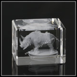 2 Inches Crystal Block Laser Engraved Rhinoceros (ND-1013)