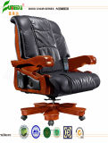 Swivel Leather Executive Office Chair with Solid Wood Foot (FY1309)