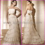 Gold Sash Tiered Lace Empire Waist Bridal Dresses PV275
