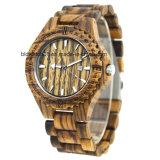 Zebrawood Watch Analog Quartz Handmade Wood Wrist Watch
