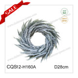 D28cm Plastic Fake Snow Artificial Wreath Christmas Decoration Craft