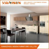 Wooden Color PVC Membraned White and Purple Kitchen Cabinet