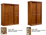 High Quality Chinese Oak Wood Furniture, Kd Furniture, Wardrobe (602)