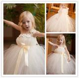 2014 Lovely Ball Gown Ankle Length Sleeveless One Shoulder with Hand-Made Flower Tulle Flower Girl Dresses (HS082)
