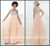 Coral Chiffon Party Prom Gown Vestidos Sequins Evening Dress P16091
