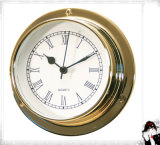 Quartz Wall Clock Roman Numberals Dial Brass Case 81mm