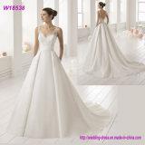 OEM Long Floor-Length White Wedding Dress Bridal Gown with Pocket