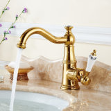 Long Curved Spout Gold Solid Brass Construction Bathroom Basin Faucet