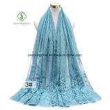Tie-Dyed Retro Style Shawl Lady Fashion Scarf with Embroidery
