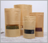 Zip Lock Flat Bottom Stand up Pouch Food Grade Kraft Brown Paper Bag with Window for Food/Coffee/Tea