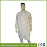 Disposable Microporous Lab Coat with Double Collar, Waterproof Lab Coat