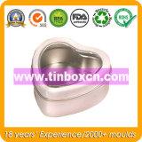 Heart Shape Storage Tin Box with Clear Window, Food Tin