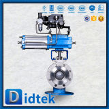 Didtek Fire Safe Flange Ends CF8 Pneumatic V Type Ball Valve