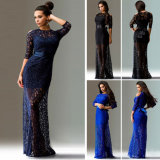 Wholesale Women Lace Long Sleeve Party Maxi Dress (A879)