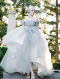 Ball Gown Tulle Dusty Blue off The Shoulder Wedding-Dress Tb196