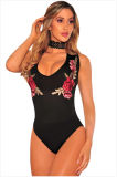 Black Embroidered Rose Choker Bodysuit