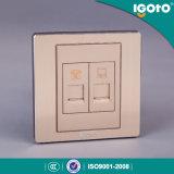 Igoto British Standard Brushed Aluminum Rj11+RJ45 Wall Socket Outlet