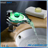 Water Power LED Brass Basin Waterfall Mixer Tap