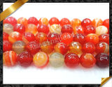 Red Banded Agate Faceted Round Gemstone Bead Beads, Faceted Carnelian Stone Beads(