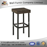 Well Furnir T-067 Durable Steel Frame Brown Finish Resin Wicker Backless Bar Stools