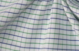 Green/Navy Thin Checks Yarn Dyed Fabric Shirting