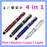 4 in 1 Touch Pen Stylus Laser Pointer Flashlight Ball Point Pen (Pen-02)