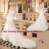 High Collar Sweetheart Beading Bridal Dress Wedding with Cap Sleeve
