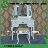 2-Piece MDF White Tri-Mirror Vanity Table and Stool Set (W-HY-055)
