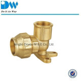 Brass Compression Fitting for PE Pipe Wall Plated Elbow