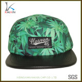 Custom Leather Brim Leaf Printed 5 Panel Camper Hat with Leather Strap