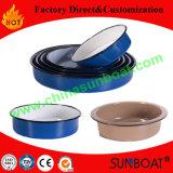 24*6cm Carbon Steel Kitchenware Enamel Round Tray