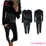 Elastic Waist Black Long Pant Romper Jumpsuit