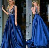 Blue Party Gowns V-Neckline Beading Prom Evening Dress E14675