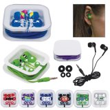 Promotional Logo Printed Earbuds in Square Case (PM183)